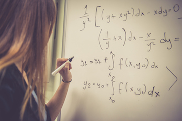 Young Woman Doing Math at Secondary School, University, Istanbul, Turkey
